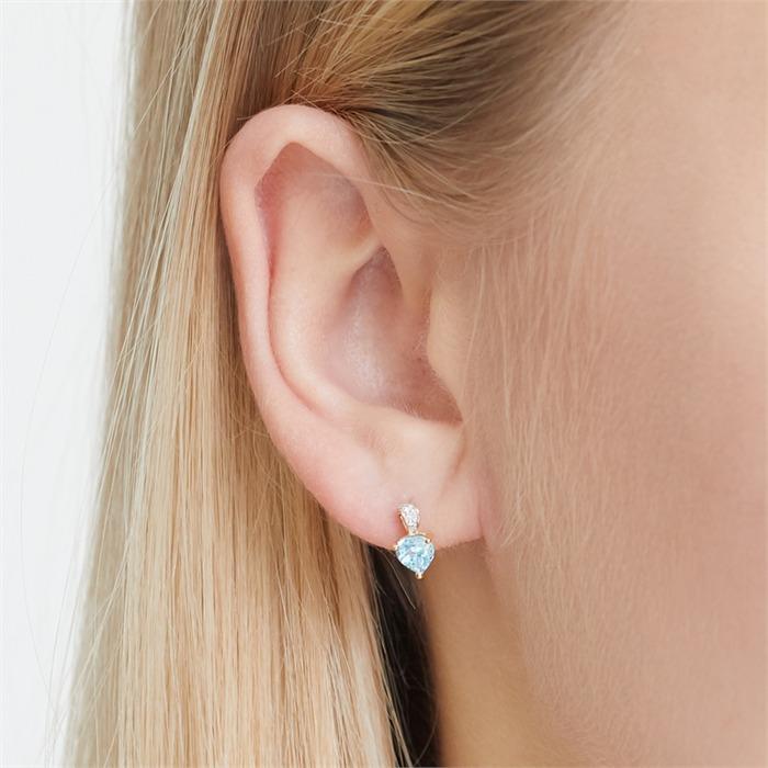 585er Ohrringe 2 Topase 6 Diamanten