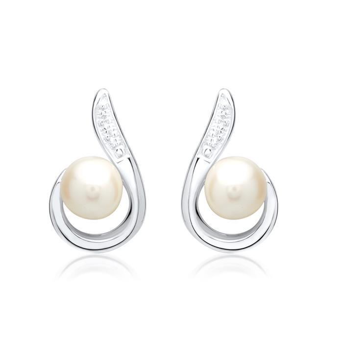 Damen-Ohrringe 585er Weißgold Perlen