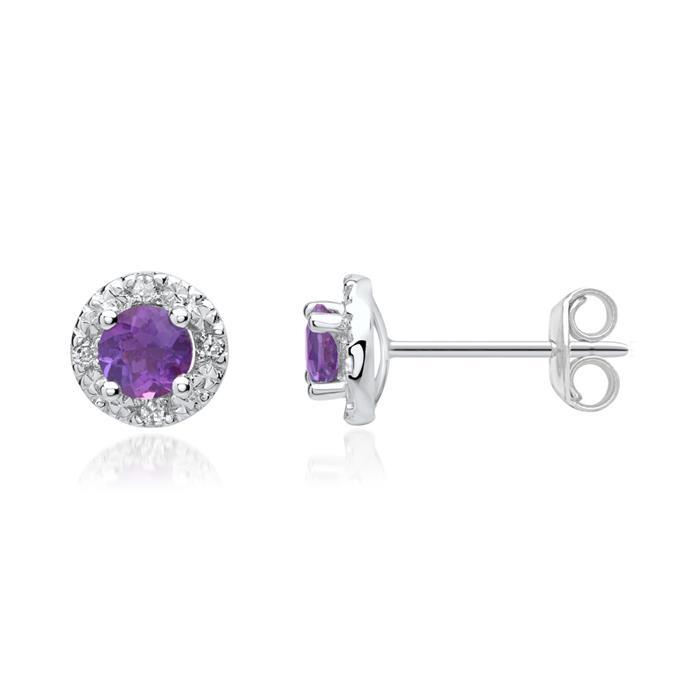 14ct Earrings Amethysts 8 Diamonds