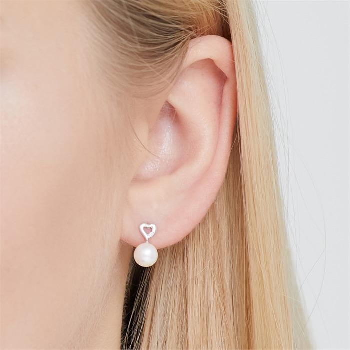 585er Weißgold-Ohrringe Perle 2 Diamanten
