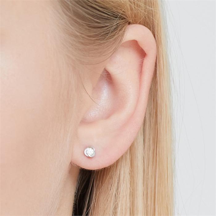 Ohrringe 585er Weißgold 2 Diamanten 0,128 ct.