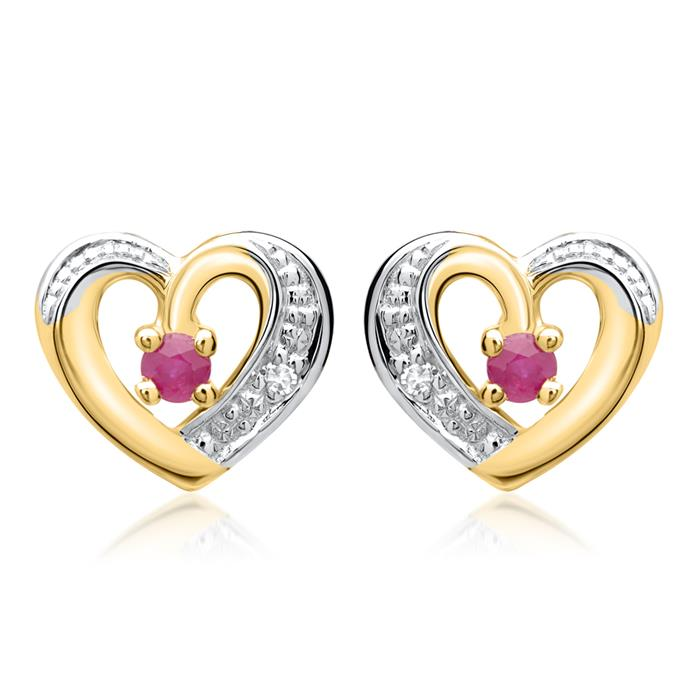 585er Ohrringe 2 Rubine 2 Diamanten 0,008 ct.