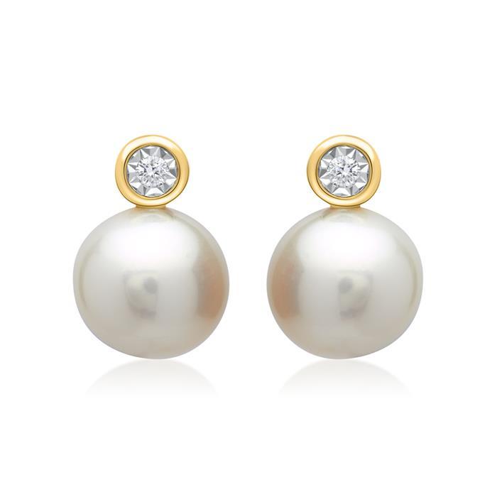 585er Gelbgold-Ohrringe Perle 2 Diamanten