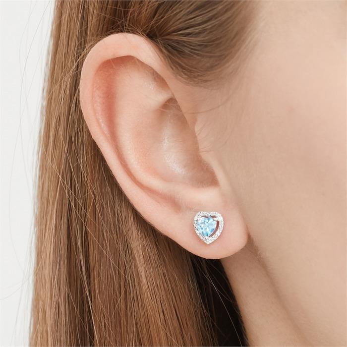 14ct Earrings 2 Topase 10 Diamonds 0,04 Hoops.