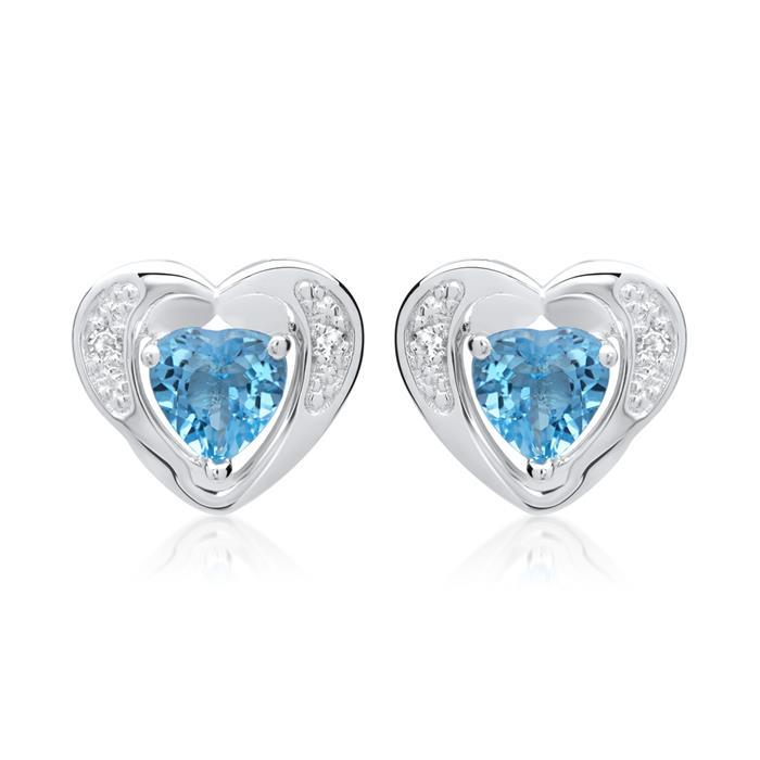 585er Ohrringe 2 Topase 4 Diamanten 0,02 ct.
