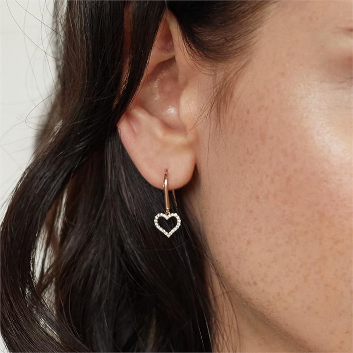 750er Roségold-Ohrringe Herz 44 Diamanten