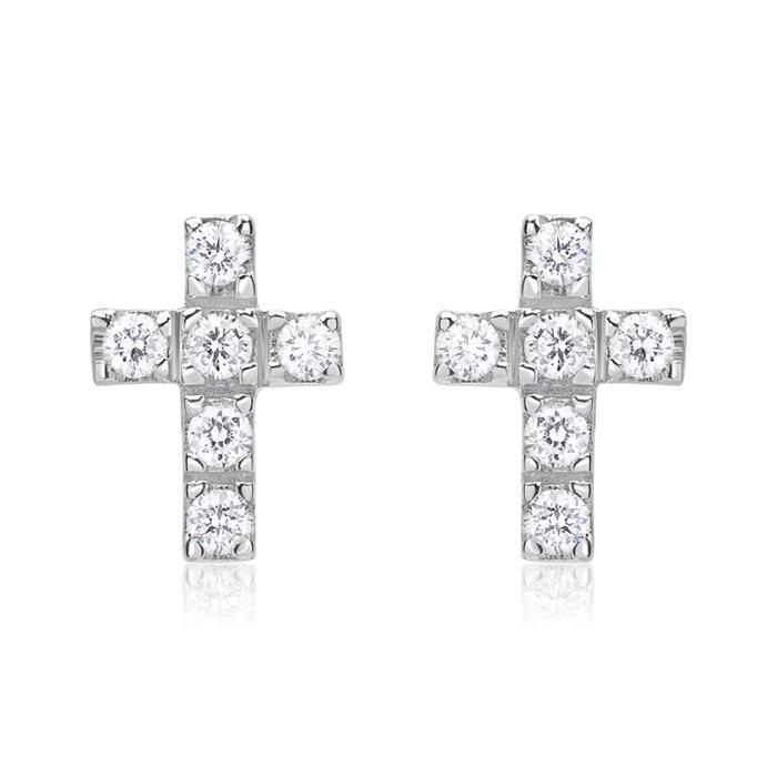Kreuz Ohrstecker 585er Weißgold 12 Diamanten