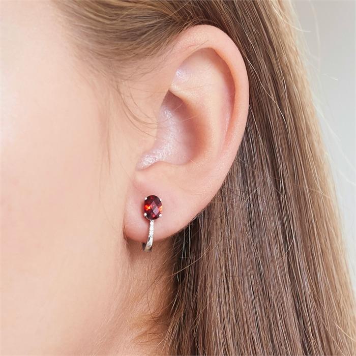 585er Weißgold Ohrringe 6 Diamanten Granat
