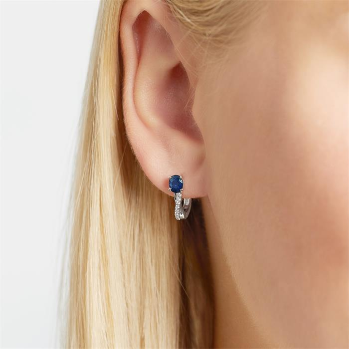 Hoops 14ct White Gold 16 Diamonds And Sapphire
