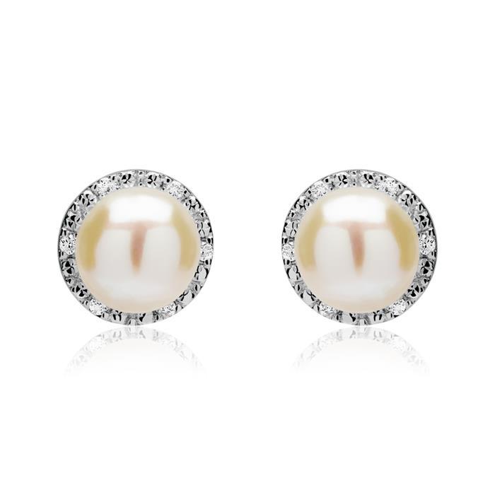 Ohrstecker 585er Weißgold Diamanten Perlen