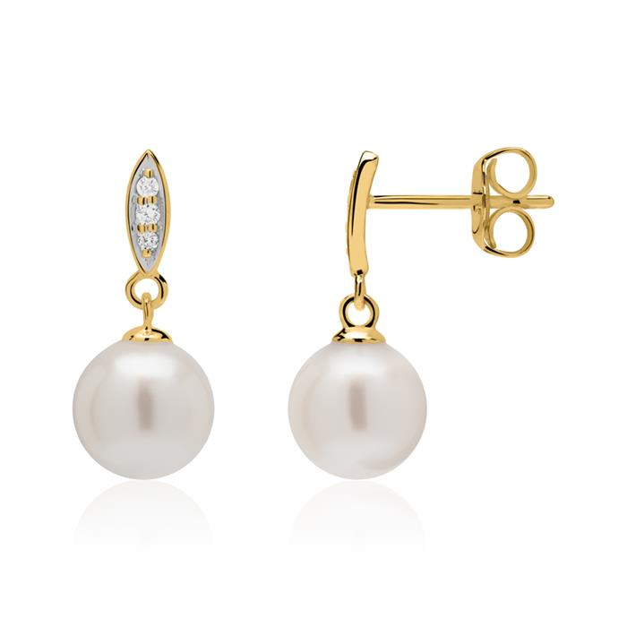 585er Gold Ohrstecker mit Perlen und Diamanten
