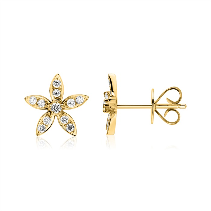 14K Gold Ohrstecker Blüten mit Diamanten