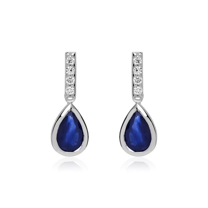 585 White Gold Stud Earrings With Sapphires And Diamonds