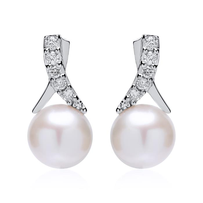 Unique Stud Earrings In 14ct White Gold With Pearls And Diamonds De0233