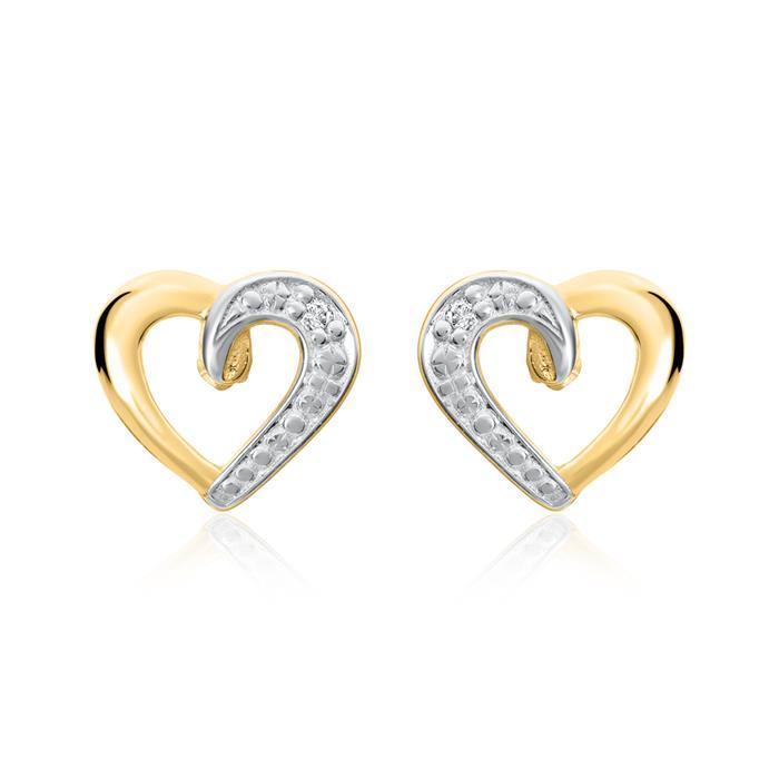 Ohrstecker Herzen aus 585er Gold mit Diamanten