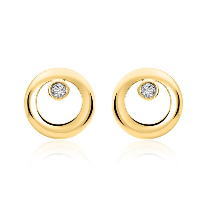 Kreis-Ohrstecker aus 585er Gold mit Brillanten