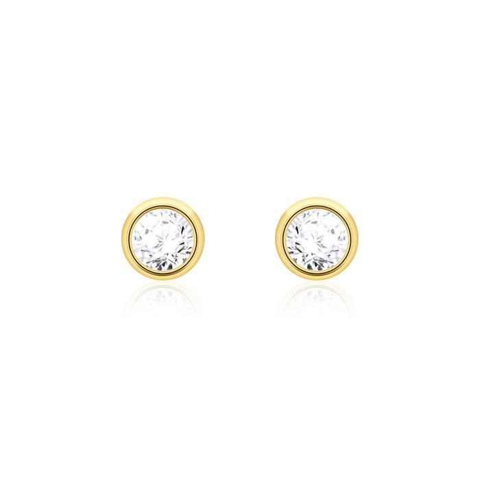Diamantbesetzte Ohrstecker für Damen aus 14K Gold