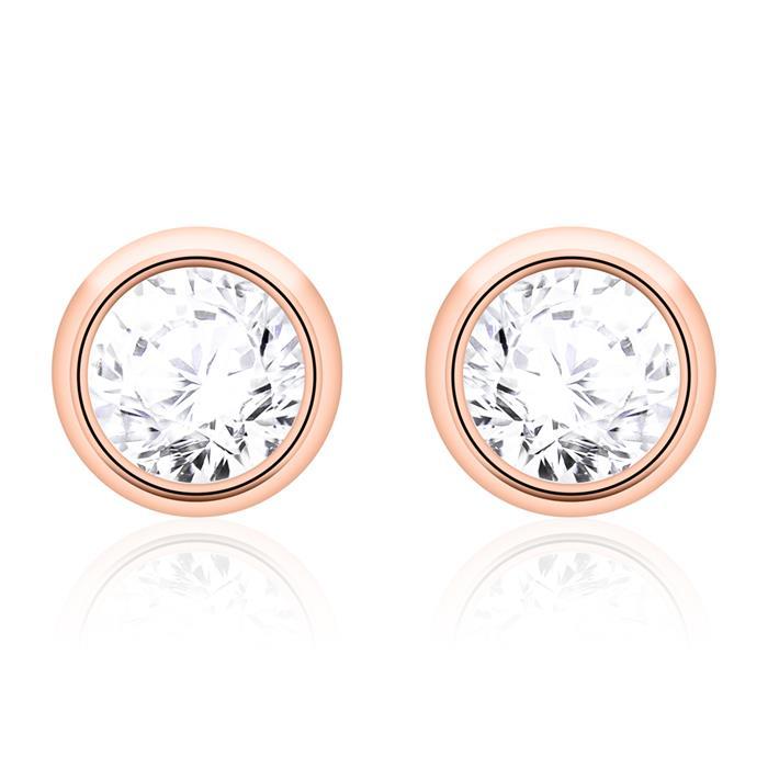 585er Roségold Ohrstecker für Damen mit Diamanten