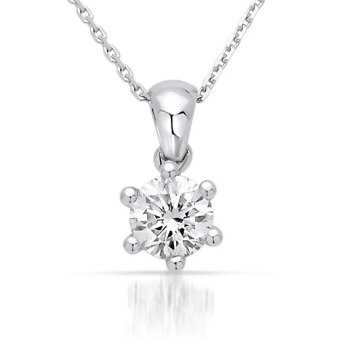 585er Weißgold Collier mit echtem Diamant