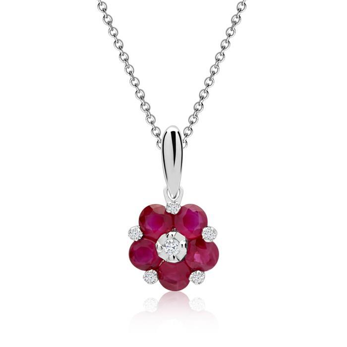 Blüten-Collier Rubine Diamanten 0,595 ct gesamt