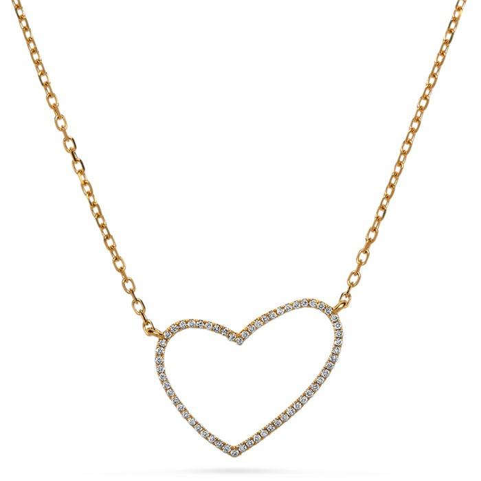 Diamantkette Herz 0,17 ct gesamt 750er Gelbgold