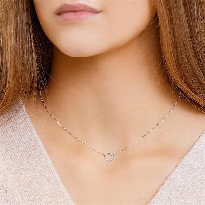 Kette Kreis 750er Weißgold 22 Diamanten 0,07 ct.