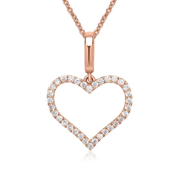 750er Rotgold-Kette Herz 34 Diamanten 0,16 ct.