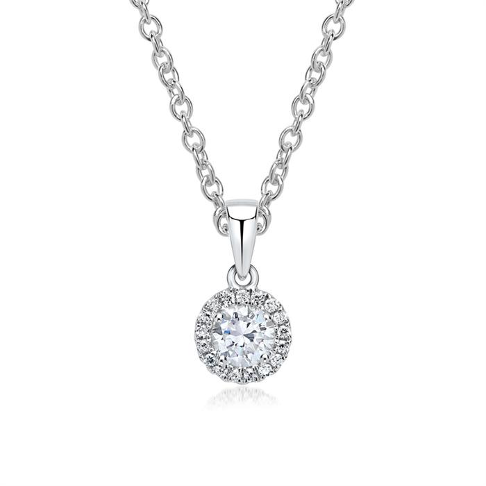 Halo Diamant Anhänger Kette 750er Weißgold