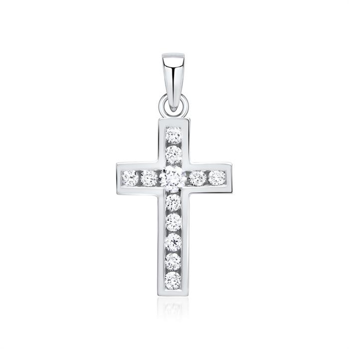 750er Weißgold Anhänger Kreuz 12 Diamanten