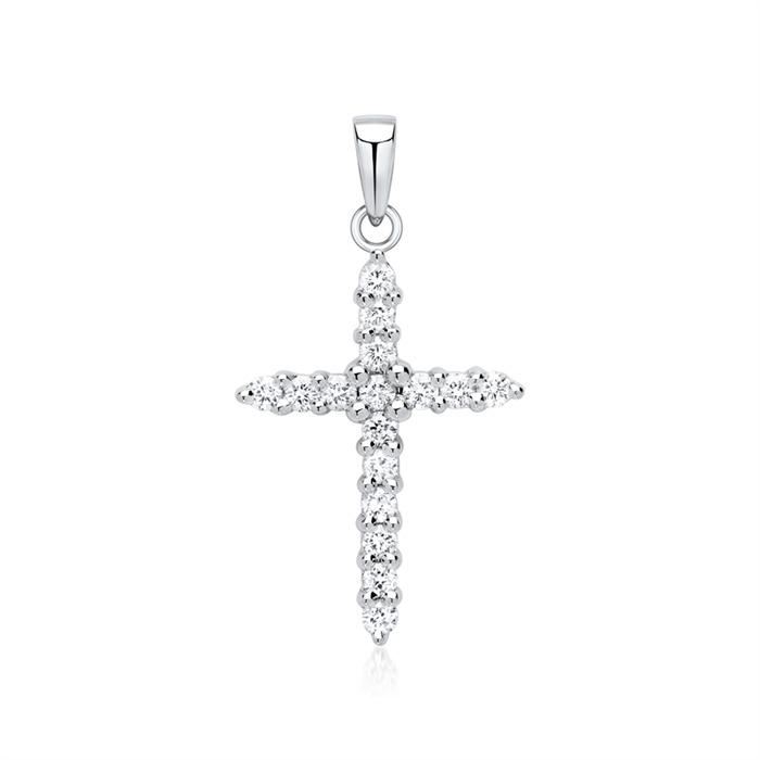750er Weißgold Anhänger Kreuz mit 16 Diamanten