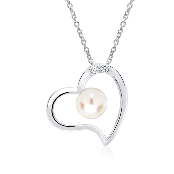 Weißgold-Kette Herz Perle 2 Diamanten