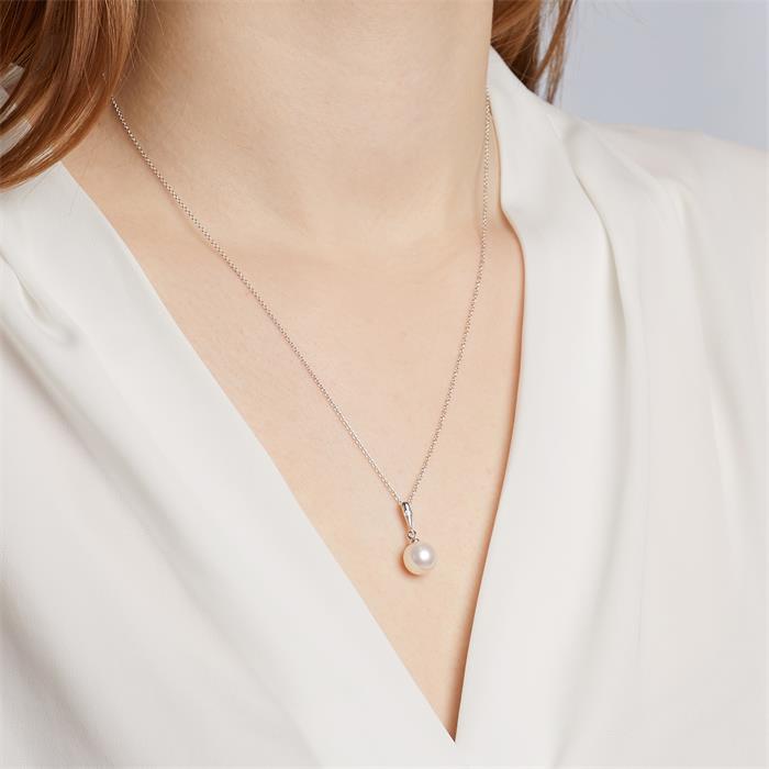 Perlen-Anhänger Weißgold mit Diamant