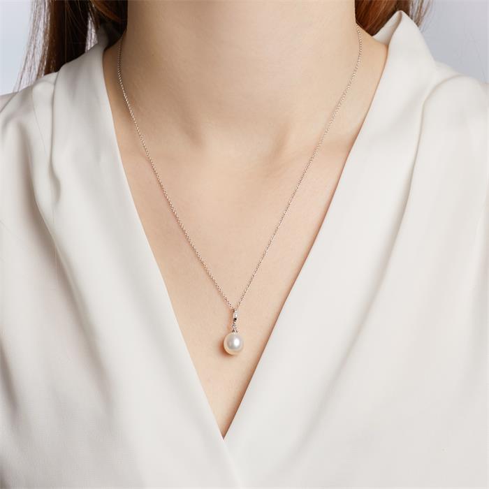 Perlenanhänger Weißgold 2 Diamanten