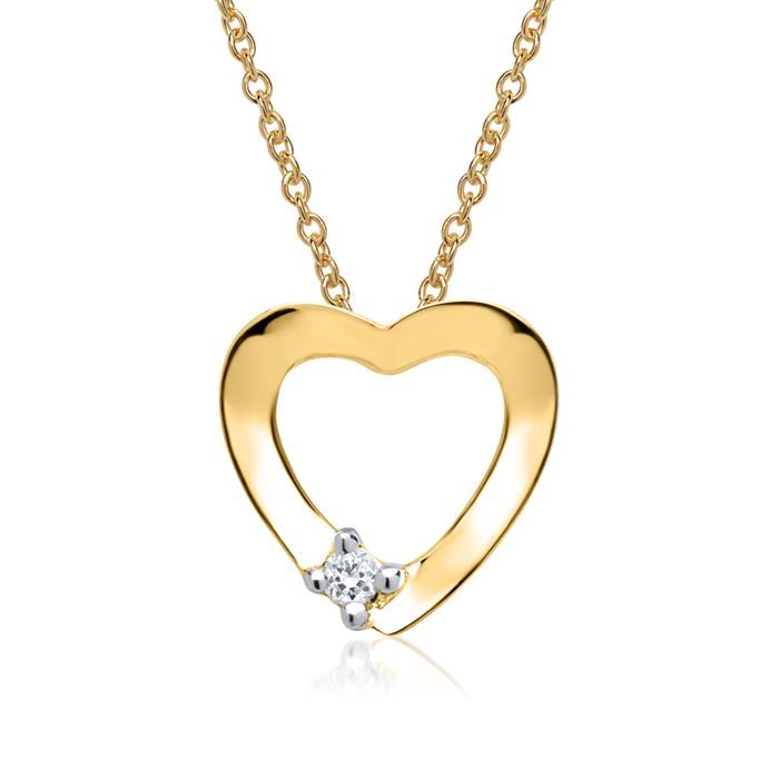 585er Gelbgold-Anhänger Herz Diamant