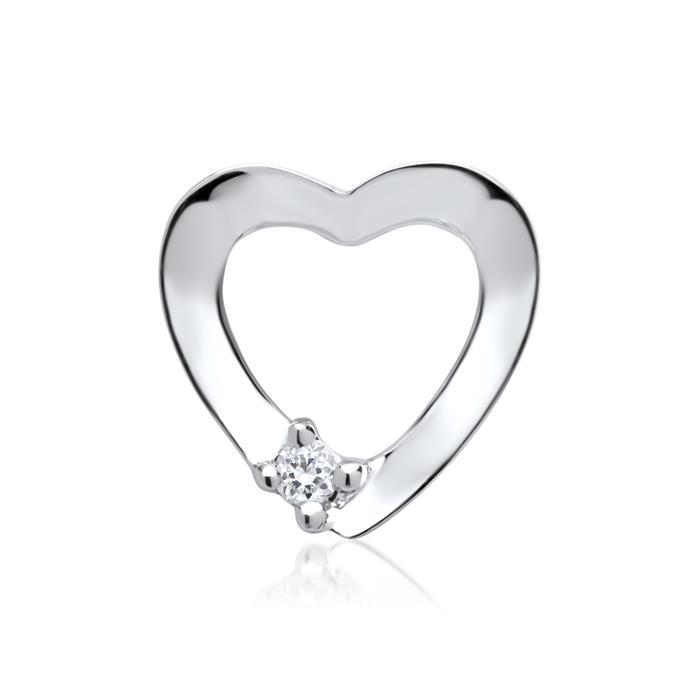 585er Weißgold-Anhänger Herz Diamant