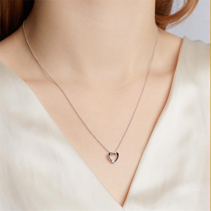 585er Weißgold-Kette Herz Diamant 0,02 ct.