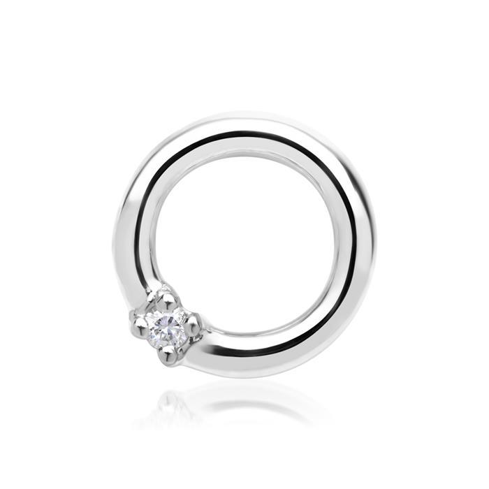 585er Weißgold-Anhänger Kreis Diamant