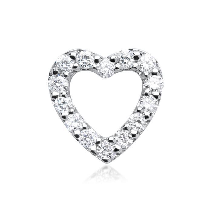 585er Weißgold-Kette Herz 14 Diamanten
