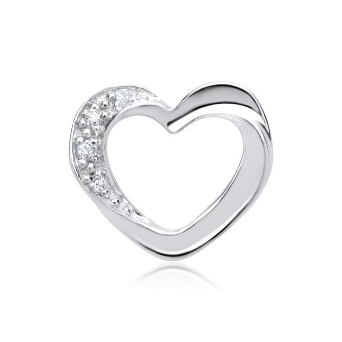 585er Weißgold-Anhänger Herz 4 Diamanten