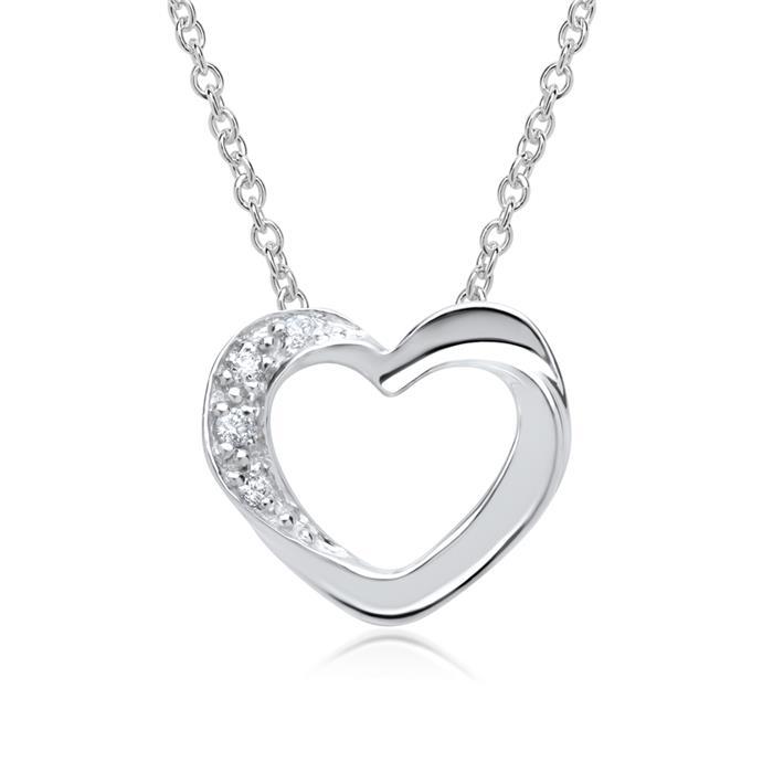 585er Weißgold-Kette Herz 4 Diamanten