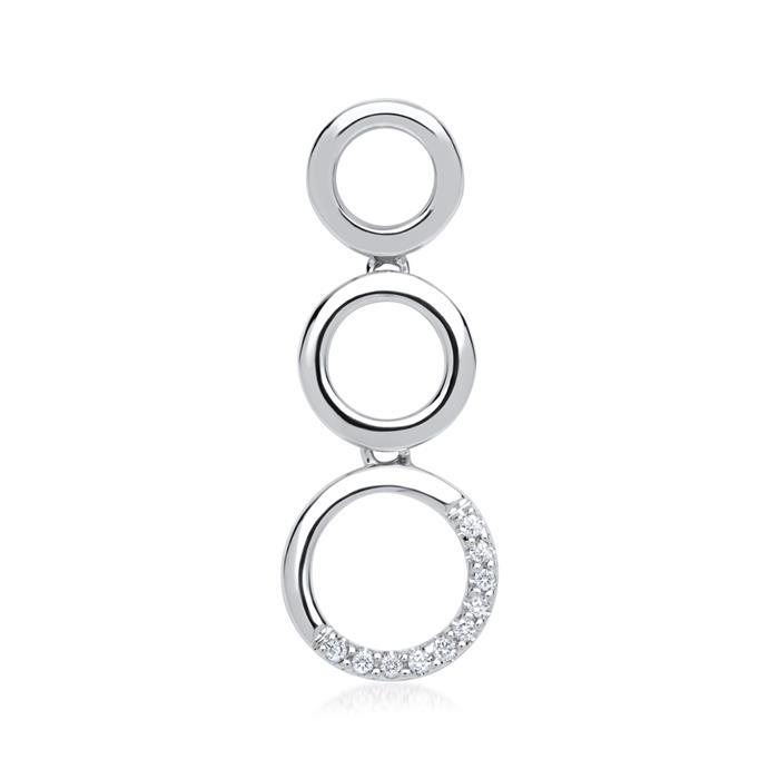 585er Weißgold-Anhänger Kreise 10 Diamanten