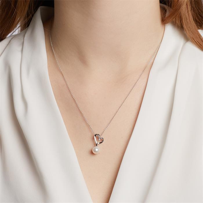 Ketten-Anhänger Herz 585er Weißgold mit Perle