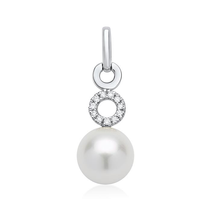585er Weißgold-Kette Perle Diamant