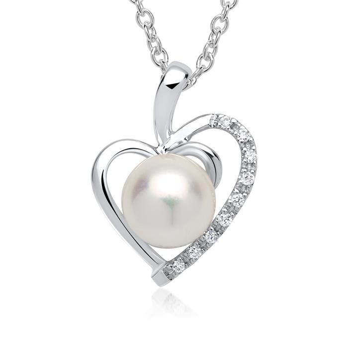 Kette Herz 585er Weißgold 9 Diamanten