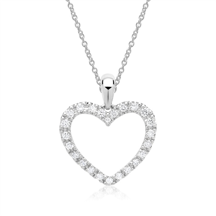 585er Weißgold-Herz-Anhänger 24 Diamanten