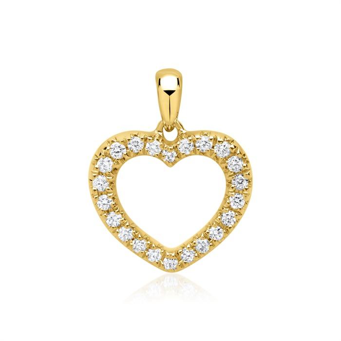 14ct Gold Pendant Heart 22 Diamonds
