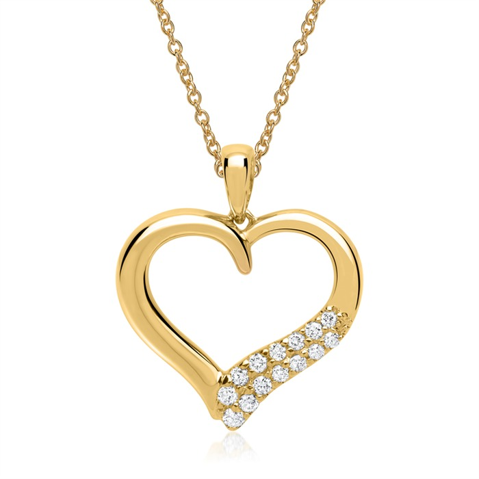 Herz-Anhänger Gelbgold mit 14 Diamanten 0,11 ct.