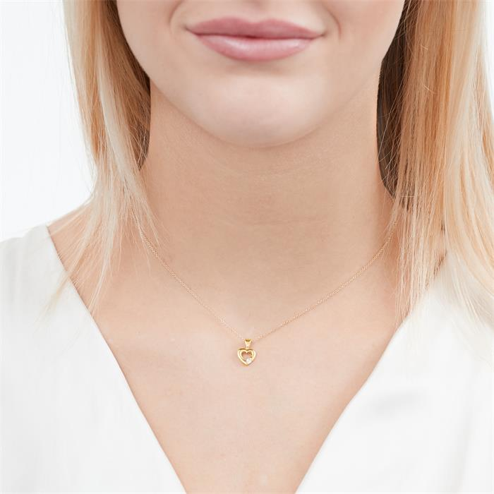 Kette Herz 585er Gelbgold Diamant 0,052ct.