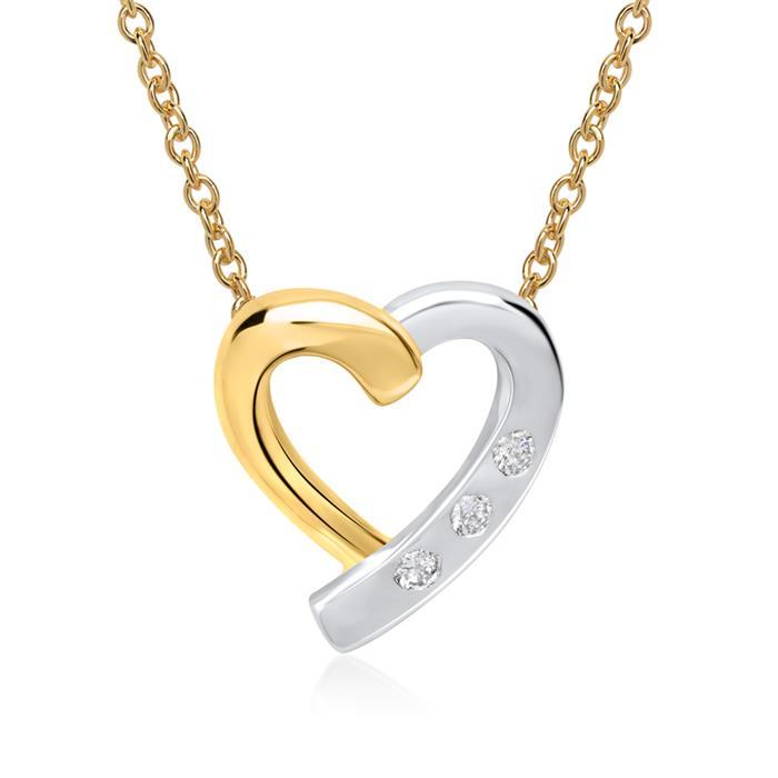 585er Gelb- Weißgold-Kette 3 Diamanten