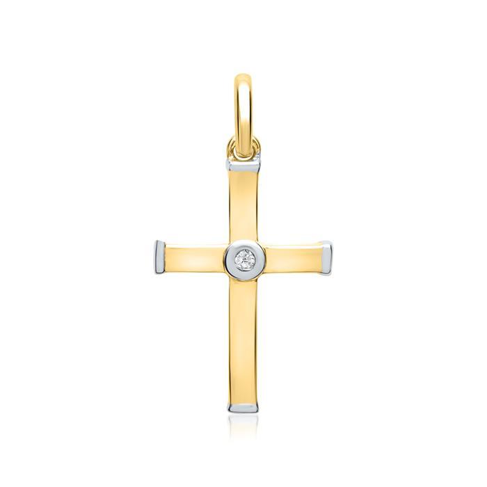585er Gelb- und Weißgold-Anhänger Diamant